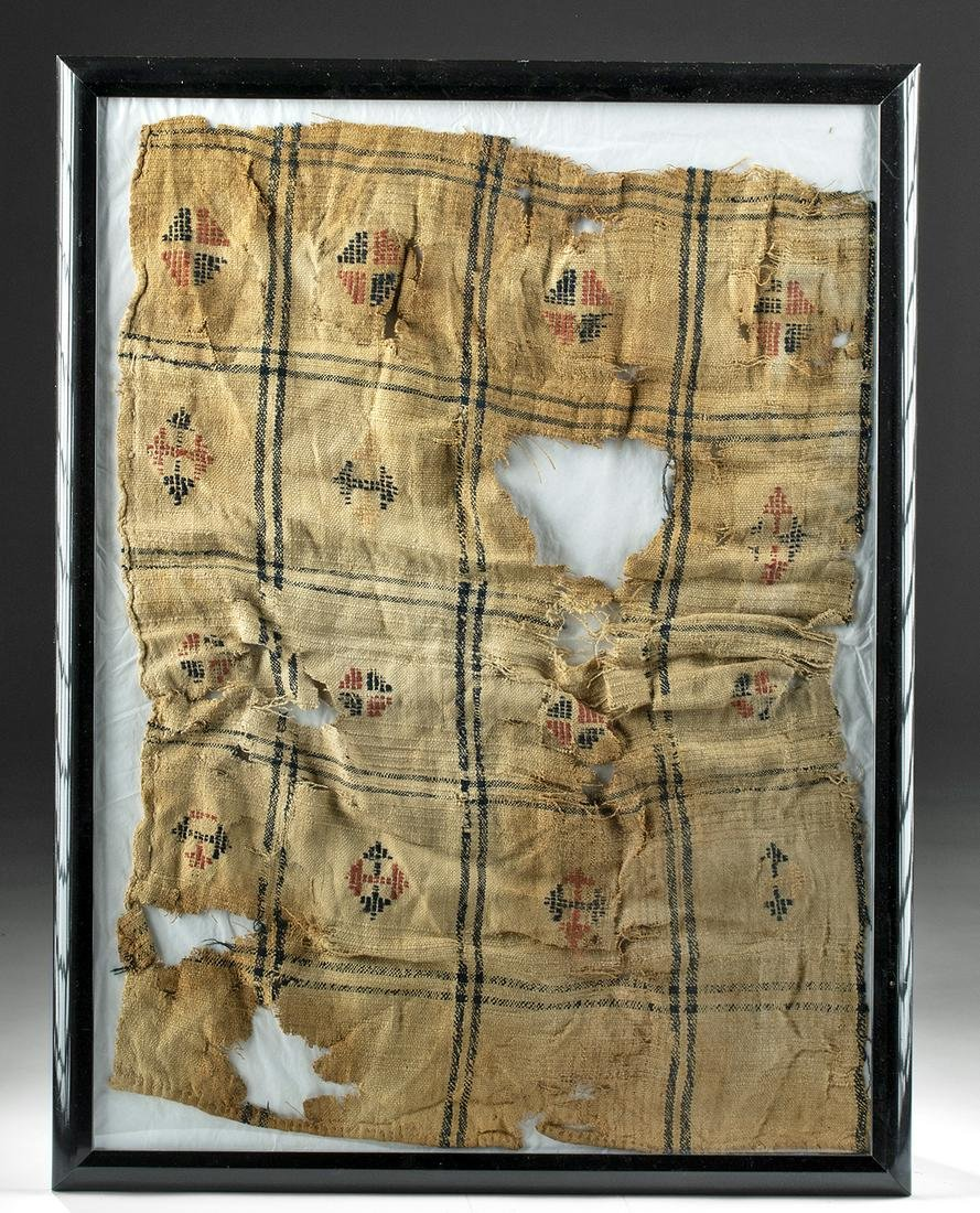 Large Framed Egyptian Coptic Textile Fragment