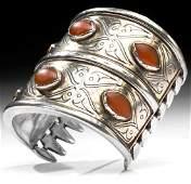 19th C Turkoman Gilt Silver  Agate Bracelet 1204 g