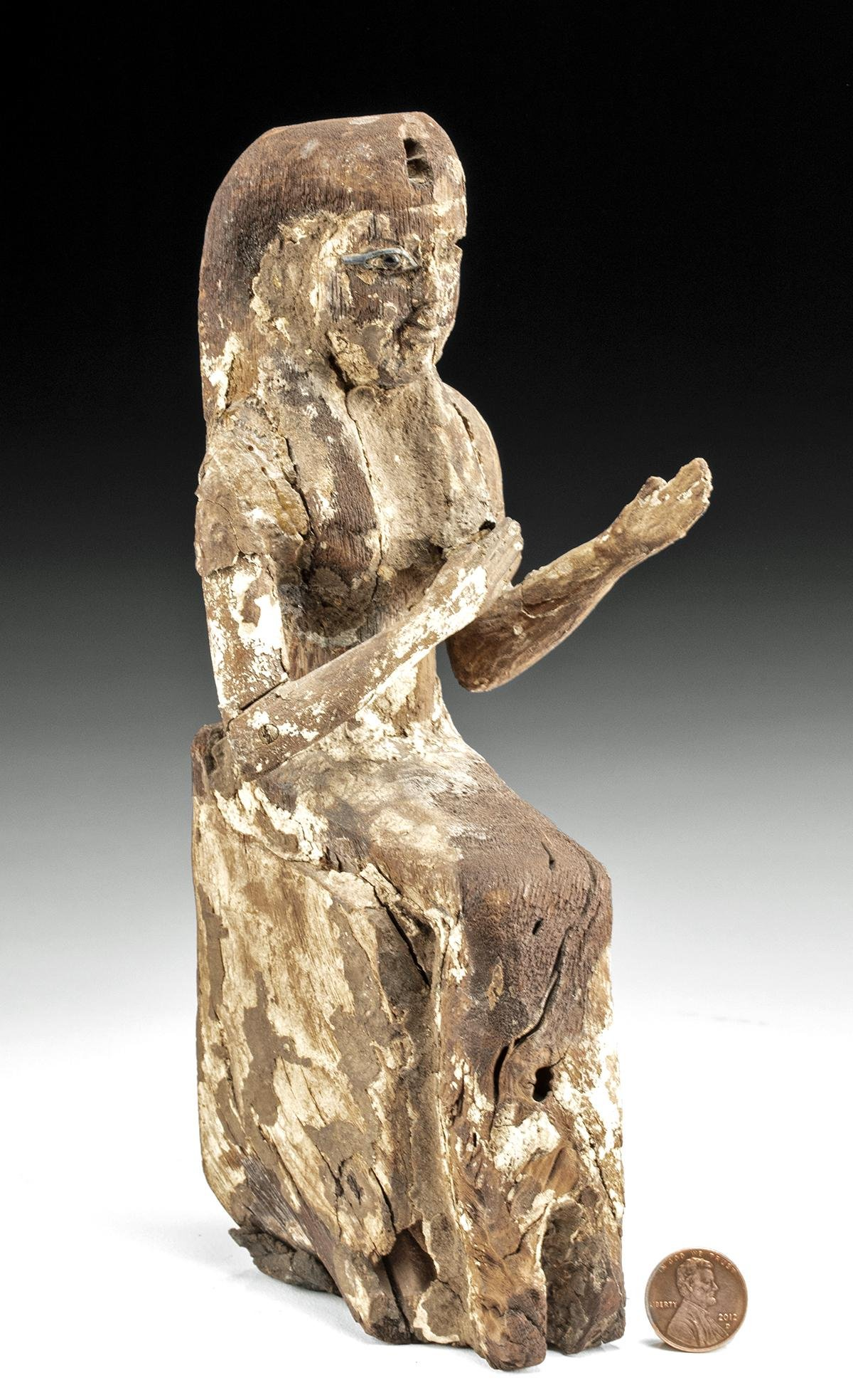Rare Egyptian Wood Isis w/ Bronze & Stone Eye
