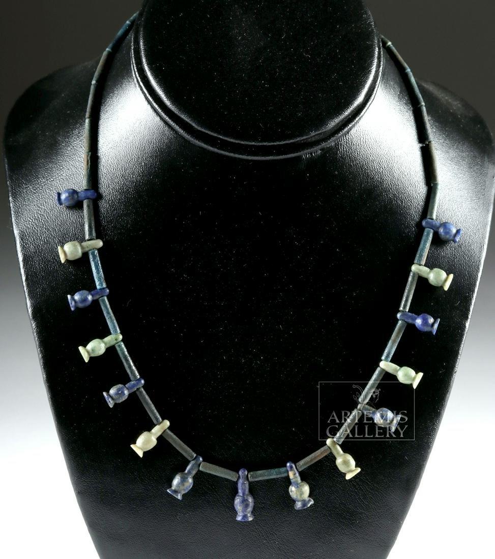 Egyptian Faience, Lapis  Necklace w/ Poppy Amulets