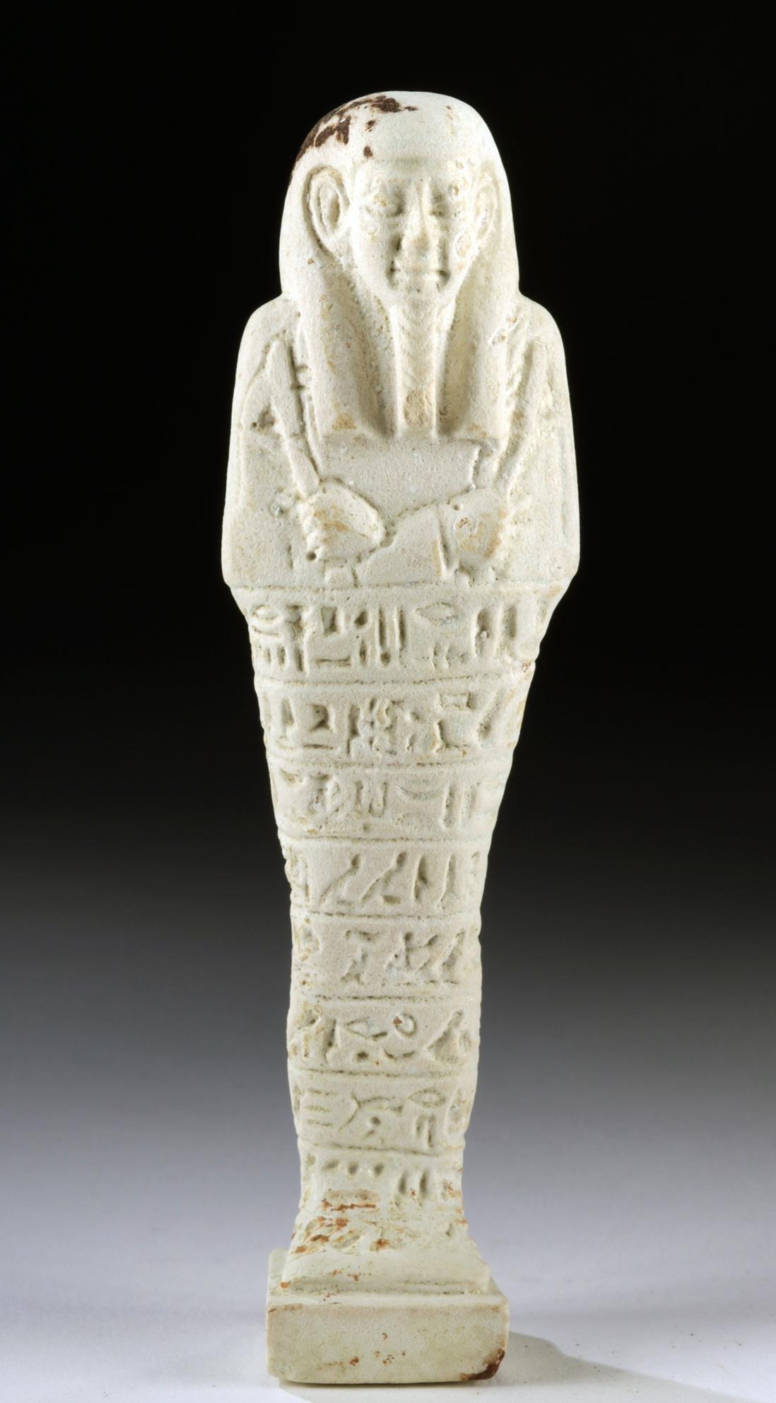 Egyptian Late Dynastic White Faience Ushabti