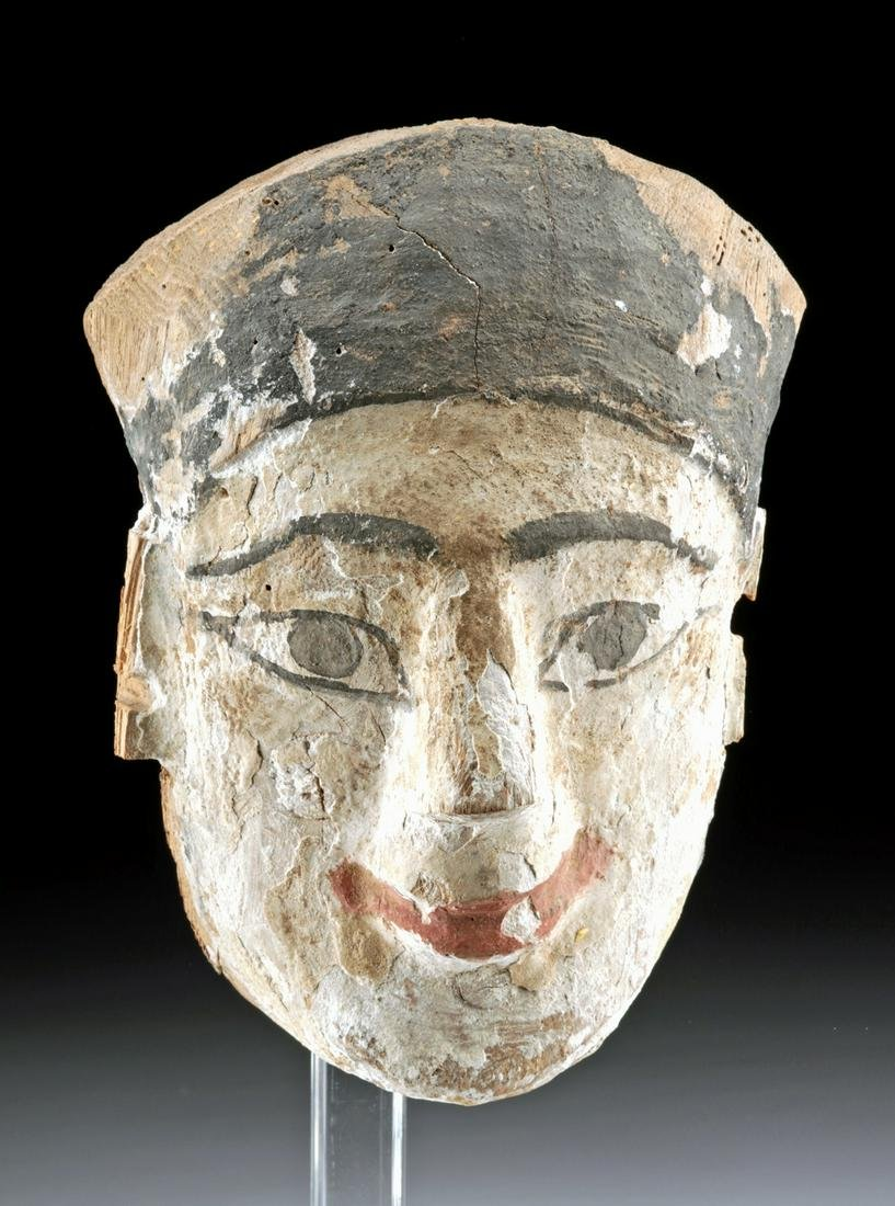 Egyptian Cedar Painted Gesso / Wood Mummy Mask