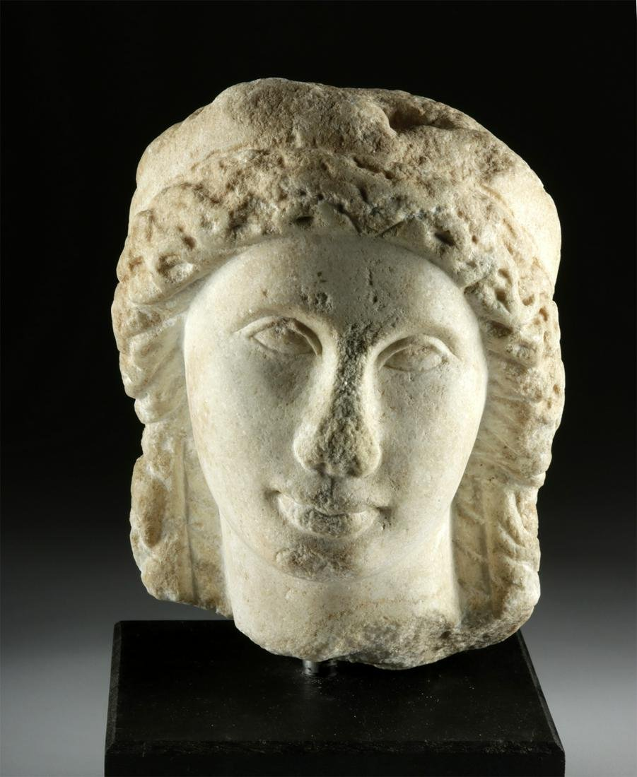 Romano-Egyptian Marble Head, ex-Sotheby Parke-Bernet