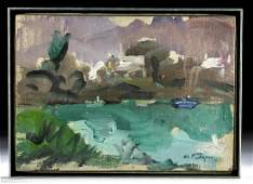"Framed William Draper ""Dusk, Bermuda"" Painting"