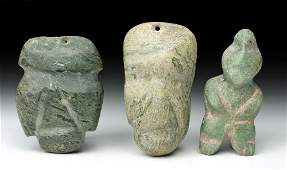 Lot of 3 Guerrero Mezcala Greenstone Figures