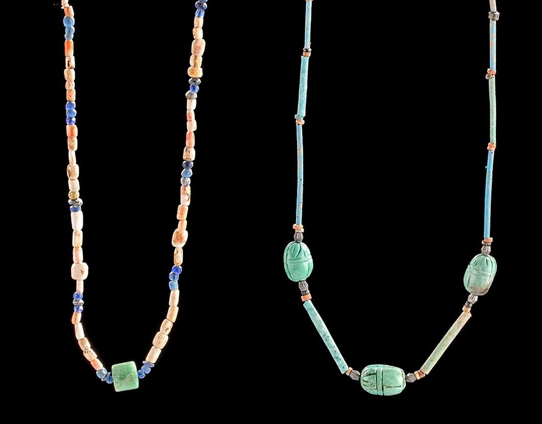 Lot of 2 Egyptian Faience & Glass Bead Necklaces