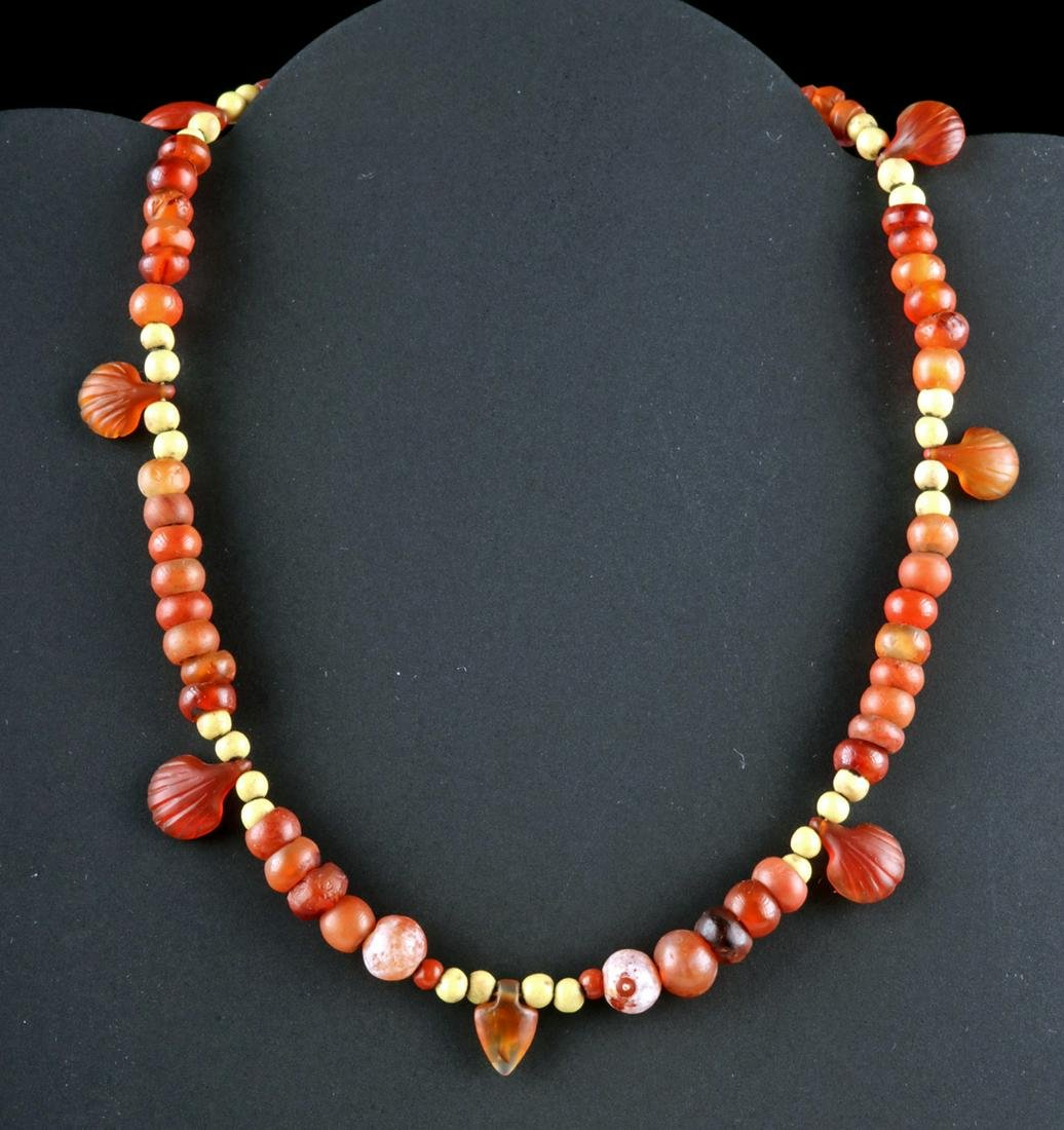 Egyptian Jasper / Carnelian Necklace - Shell Amulets