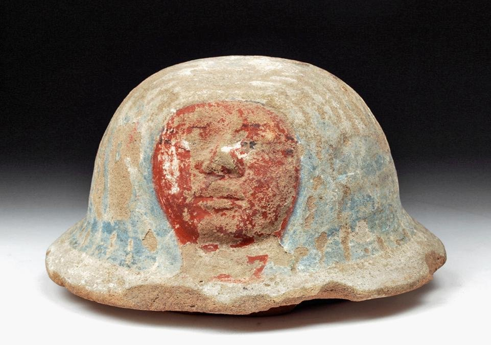 Fantastic Egyptian Polychrome Canopic Jar Lid - TL
