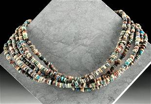 Multistrand Egyptian Faience Bead Necklace