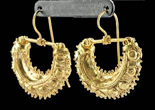 Greek 21K+ Gold Half Hoop Earrings - Wearable!
