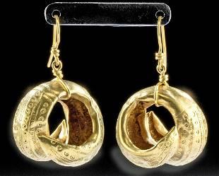 Archaic Greek 18K+ Gold Hair Ring Earrings (pr)