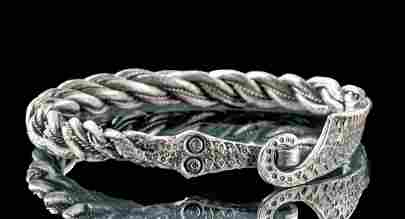 Exceptional Viking Silver Twisted Wire Bracelet, 64.5 g