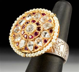 Indian 20K Gold Ring w/ Sapphires, Rubies, Pearls