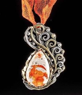 Huge Mexican Fire Opal Silver Pendant