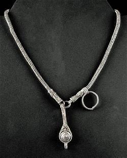 Fine Viking Silver Chain Necklace w Pendant 28 g