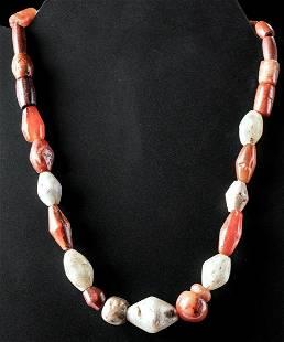 Bactrian Carnelian Agate Quartz Crystal Bead Necklace