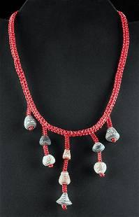 Ecuadorean Spindle Whorl Bead and Cord Necklace