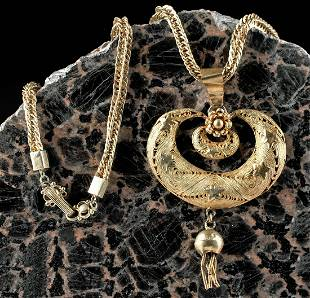 20th C Akan Gilt Copper Necklace w Star Moon Amulet