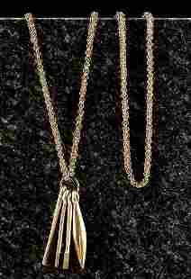 20th C Akan Gilded Copper Necklace w Cocoa Implements