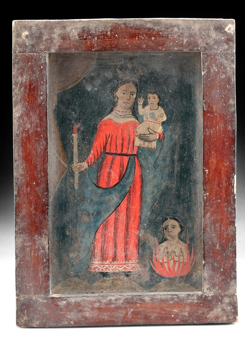 Framed 19th C. Mexican Tin Retablo w/ Mary & Jesus