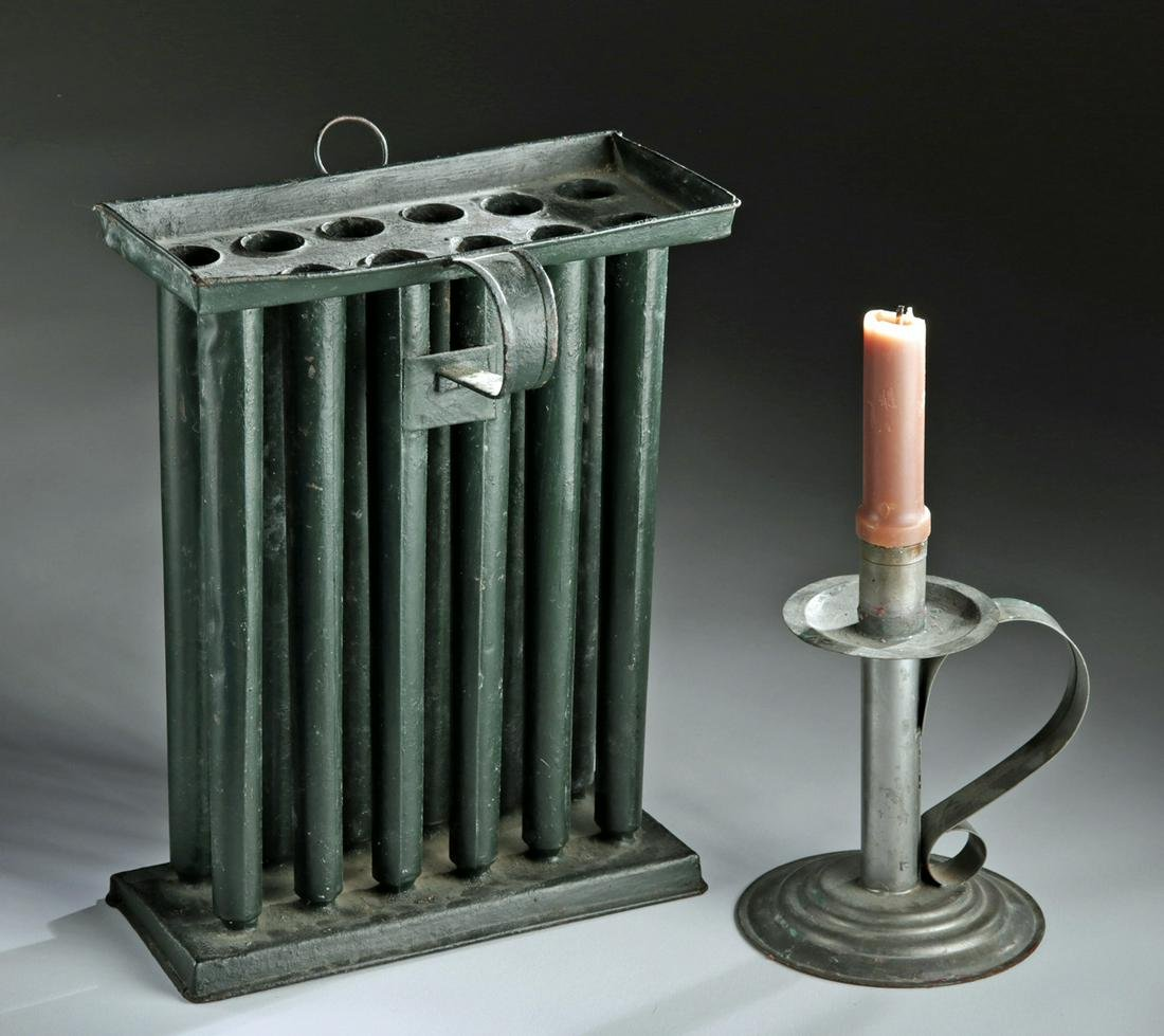 18th C. American Tin Candlestick & Candle Mold