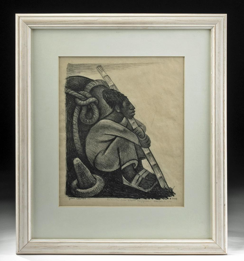 J. Charlot Lithograph w/ Inscription - Cargador, 1933