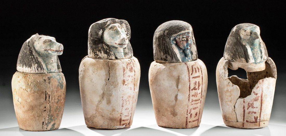 Rare Set Egyptian 26th Dynasty Canopic Jars - Art Loss