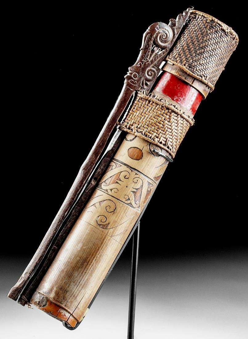 Early 20th C. Iban Dayak Bamboo & Wood Dart Quiver