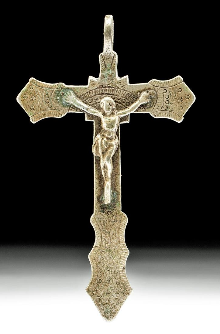 19th C. Bolivian Nickel Silver Crucifix
