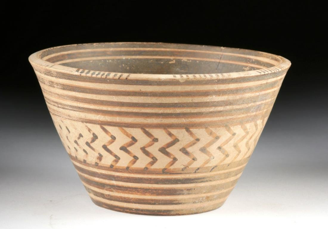 Fine Greek Mycenaean Bi-Chrome Pottery Bowl