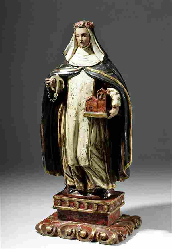 Grand 18th C. Spanish Colonial Wood Santo Rose of Lima