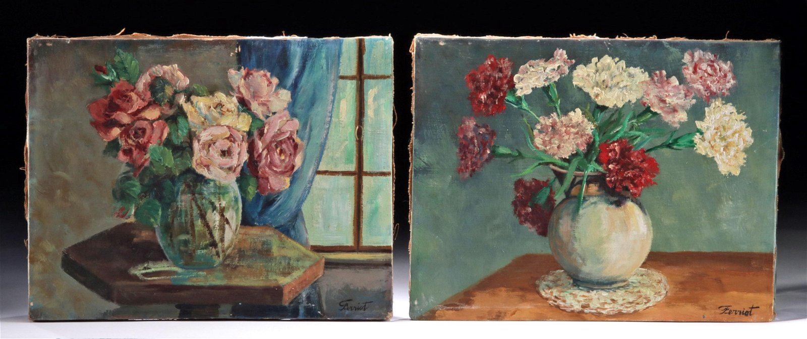 Pair of Mid-Century Still Life Paintings by Ferriot
