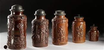 17th C German Salt Glazed Stoneware Jars w Lids 5