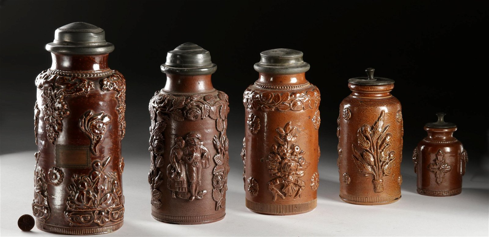 17th C. German Salt Glazed Stoneware Jars w/ Lids (5)