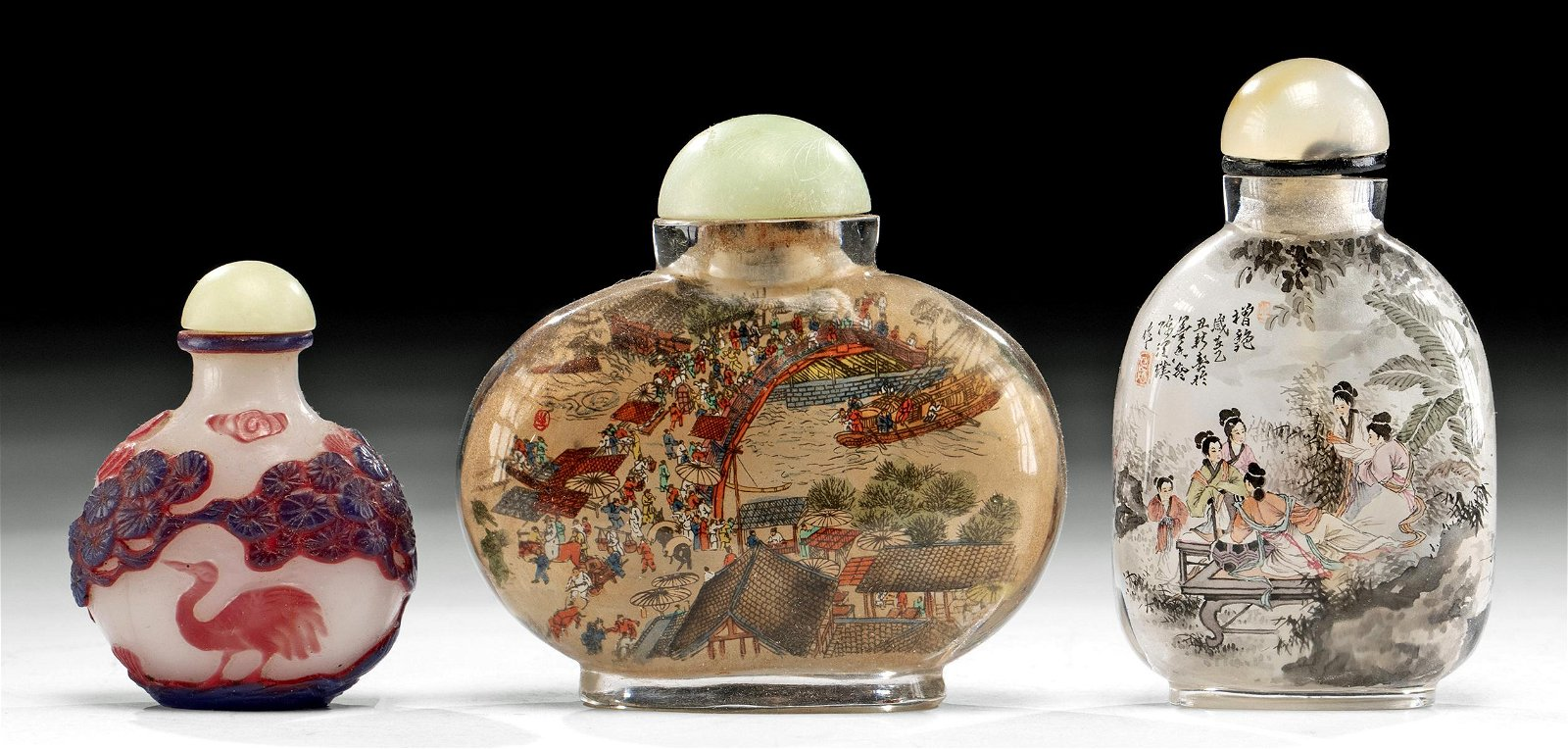 Lot of 3 Chinese Qing Dynasty Glass Snuff Bottles