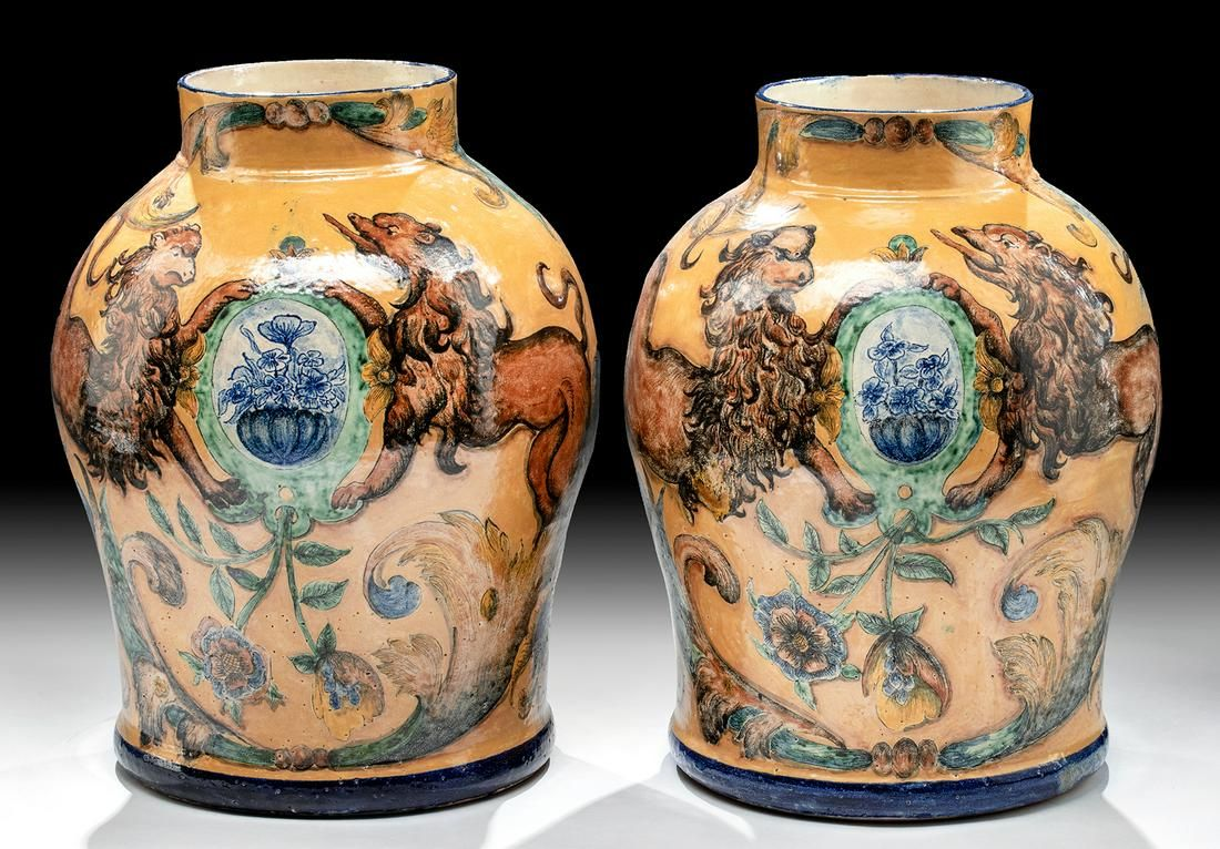 20th C. Mexican Ceramic Urns by Capelo (matched pair)