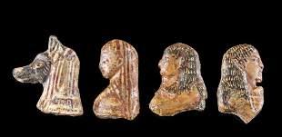 Lot of 4 Egyptian Glass Heads 3 Human and 1 Jackal