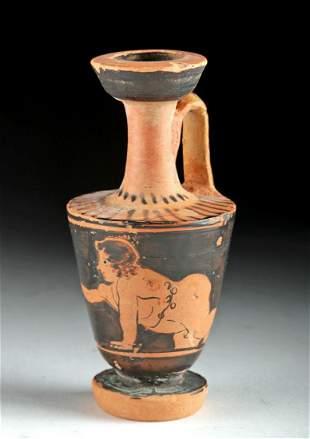Rare Miniature Greek Attic Lekythos w Nude Youth