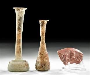 Two Roman Glass Unguentaria Redware Oil Lamp Fragment