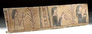 Egyptian Wood Painted Gesso Coffin Panel Fragment