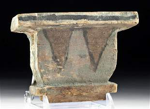 Egyptian Wood Painted Gesso Pillar Capital