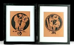 Lot of 2 Framed Kaloudov Greek Vase Painting Prints
