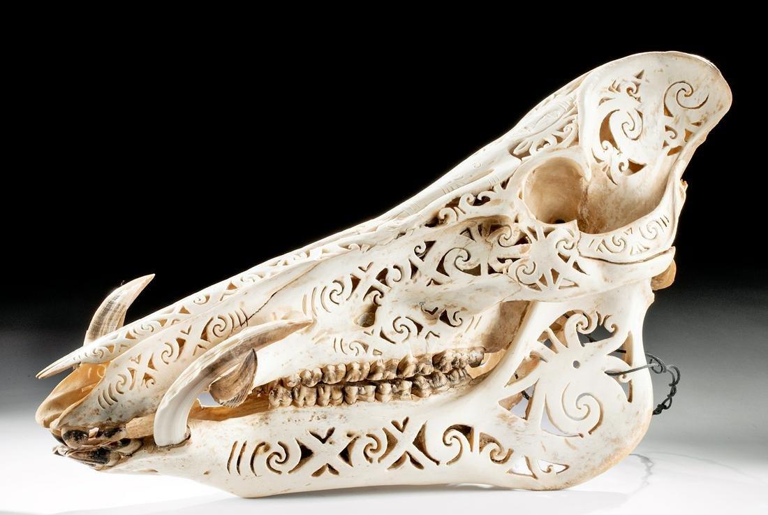 20th C. Indonesian Dayak Carved Boar Skull Openwork