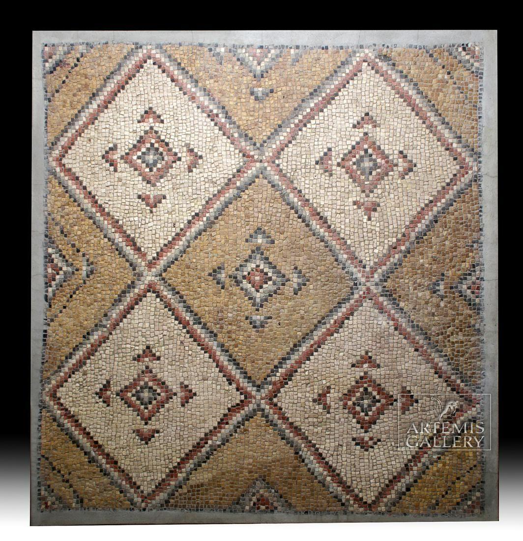 Huge Roman Stone Mosaic Geometric Design