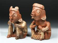 Nayarit Bichrome Pottery Seated Figures pr