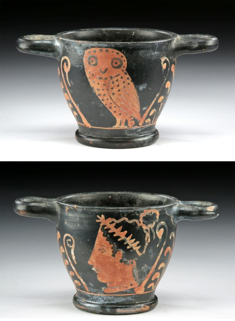 Etruscan Red-Figure Owl Skyphos w/ Lady of Fashion