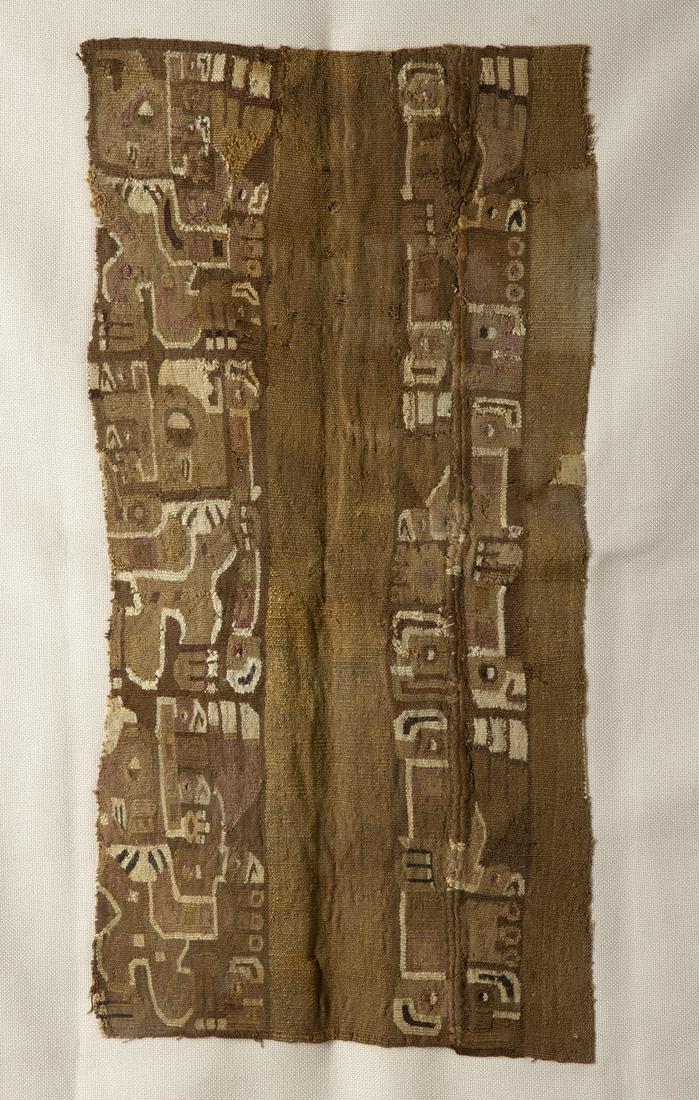 Huari Polychrome Textile Fragment - Falcon Staff Bearer
