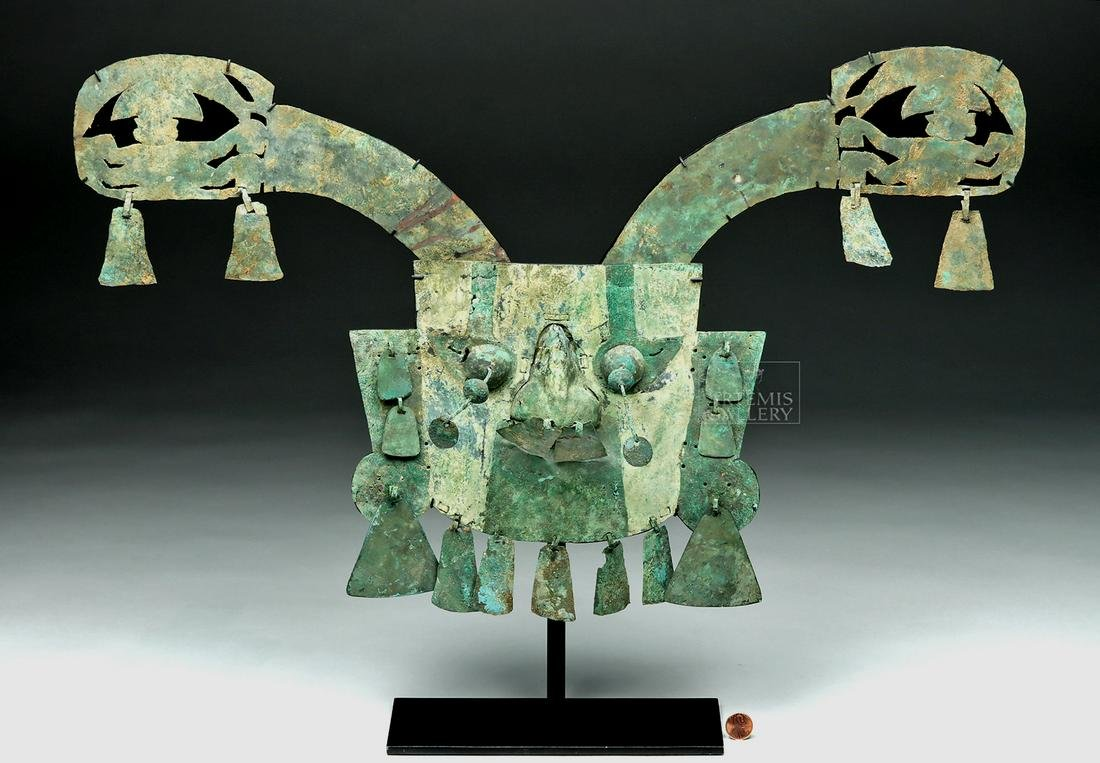 Important Sican / Lambayeque Copper Funerary Mask