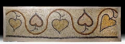 Roman Stone Mosaic - Ivy Vine w/ Heart-Shaped Leaves