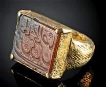Islamic 18K Gold Ring w Kufic Carnelian Intaglio